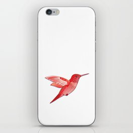 Red hummingbird colibri. iPhone Skin
