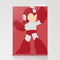 mega man Stationery Cards featuring Mega Man(Smash)Red by ejgomez