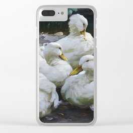 Five resting white ducks by Alexander Koester, 1932 Clear iPhone Case