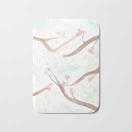 Simplistic Cherry Blossoms Bath Mat