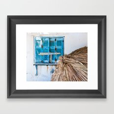 Distressed Blue Wooden Shutters and Beach Umbrella in Crete. Framed Art Print