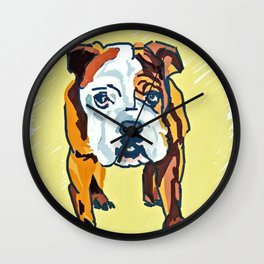 Bulldog Puppy Dog Portrait Wall Clock