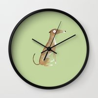 greyhound Wall Clocks featuring Greyhound by rhian wright