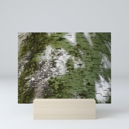 Birch Bark Pattern Green and White Wood Pattern Bring the Outdoors In Mini Art Print