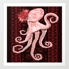 Retro Funky Boho Floral Victorian Steampunk Octopus Love Print Art Print