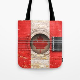 Old Vintage Acoustic Guitar with Canadian Flag Tote Bag