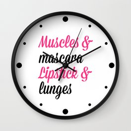 Muscles & Mascara Gym Quote Wall Clock