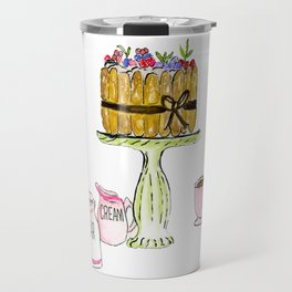 Watercolor Of Charlotte French Cake With Coffee Travel Mug