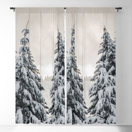 Winter Woods II - Snow Capped Forest Adventure Nature Photography Blackout Curtain