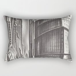 Looking Up Broadway, The Great White Way, New York City lithograph by Howard Cook Rectangular Pillow