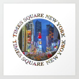Times Square Broadway (New York Badge Emblem on white) Art Print