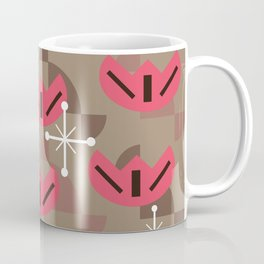 Atomic Era Funky Flowers (Brown) Coffee Mug