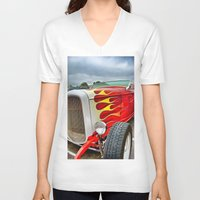 ford V-neck T-shirts featuring 32' Ford by Dave Johnson