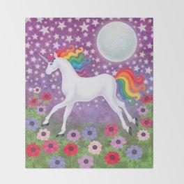 wanderlust (rainbow unicorn), moon and stars, anemone Throw Blanket