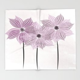 Lilac Pink Garden Star Watercolor Flowers Throw Blanket