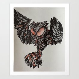 Coruja voando Art Print