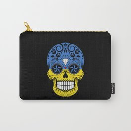 Sugar Skull with Roses and Flag of Ukraine Carry-All Pouch
