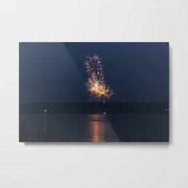 Fireworks Over Lake 18 Metal Print