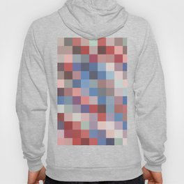 Muted Blue and Red Pixels Hoody