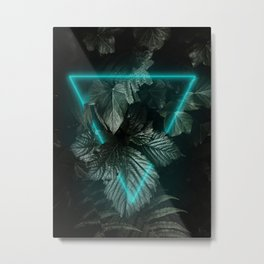 Leaves with neon triangle Metal Print