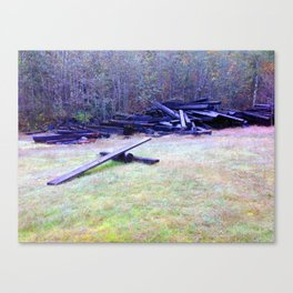 """""""Solo launch pad discovered in the woods make from Railroad Timbers."""" Canvas Print"""
