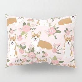 Corgi Floral Print - blush, coral, floral, spring, girls feminine corgi dog Pillow Sham