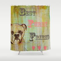 furry Shower Curtains featuring Best Furry Friend by Tammy Kushnir