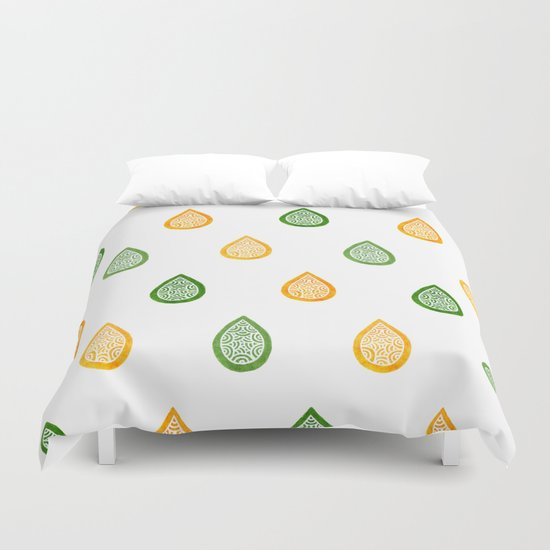 Yellow and green raindrops Duvet Cover