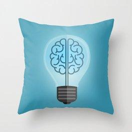 Bulb Brain Blue Throw Pillow