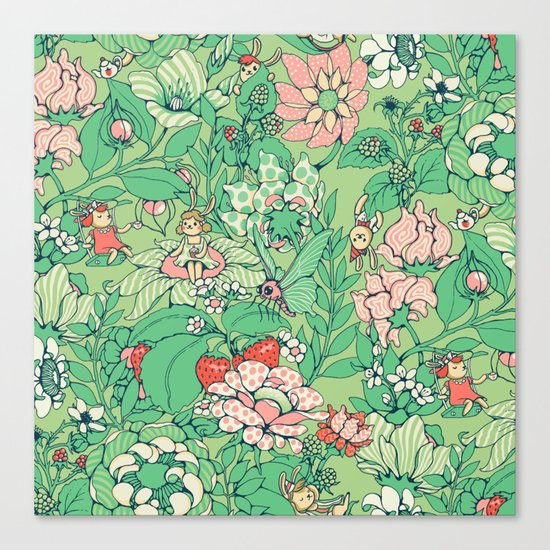 Garden party - sage tea version Canvas Print
