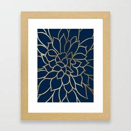 Floral Prints, Line Art, Navy Blue and Gold Framed Art Print