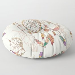 Bohemian dream catcher with beads and feathers Floor Pillow