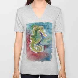 Watercolor sea horse painting Unisex V-Neck