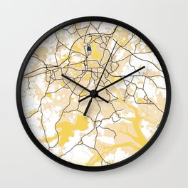Colchester Yellow City Map Wall Clock