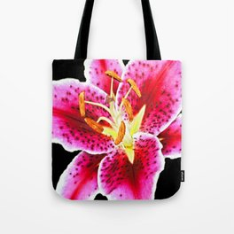 FUCHSIA PINK ASIATIC LILY FLOWER BLACK Tote Bag