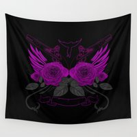 guns Wall Tapestries featuring Guns with Roses - Purple by Adamzworld
