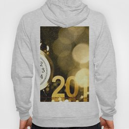 Happy New Year 2017 bokeh clock christmas decorations New Year Hoody