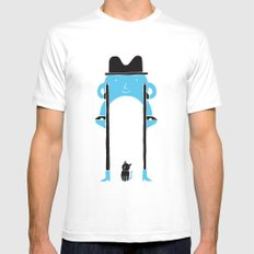 Mr Blue Boy White MEDIUM Mens Fitted Tee