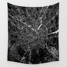 Milan Black Map Wall Tapestry