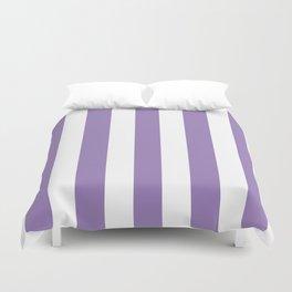 Lavender purple - solid color - white vertical lines pattern Duvet Cover