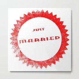 Just Married Ink Stamp Metal Print