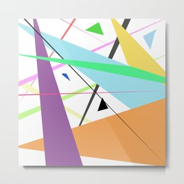 Artistic colorful modern abstract geometric stripes Metal Print
