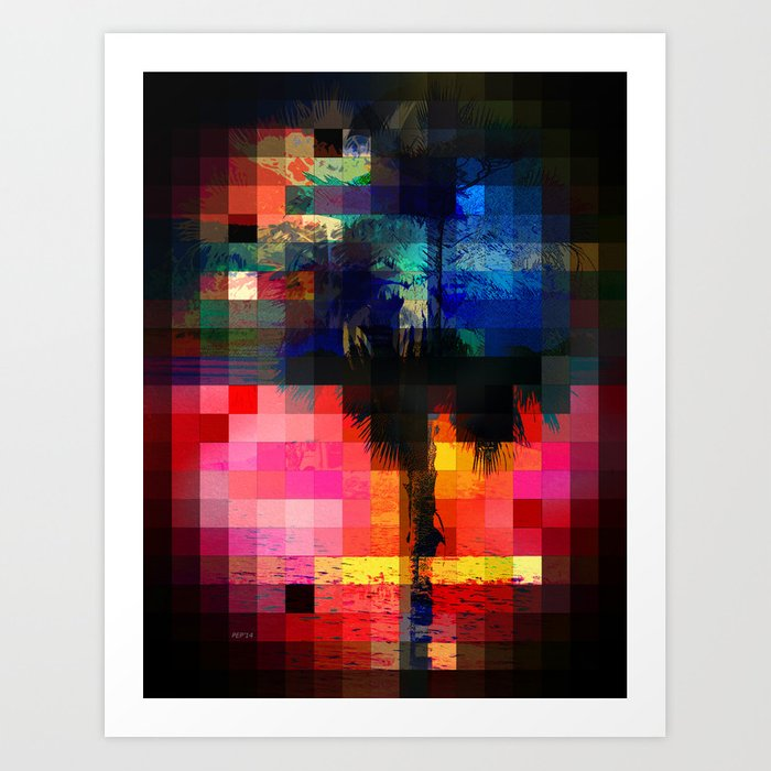 Colorful Tropical Collage Mosaic Art Print