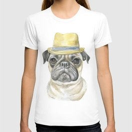 Pug with Fedora Hat Watercolor T-shirt