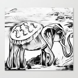 Elephant - Black and White Zen Safari Canvas Print