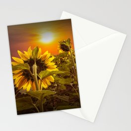 Sunflowers facing the Sunset Stationery Cards