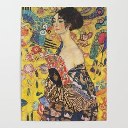 Gustav Klimt Lady With Fan  Art Nouveau Painting Poster