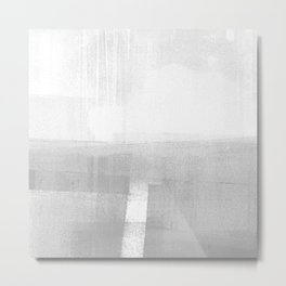 Grey and White Minimalist Geometric Abstract Landscape Metal Print