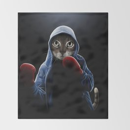Boxing Cool Cat Throw Blanket