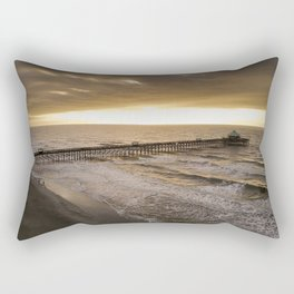 Folly Beach Pier in Gold Rectangular Pillow